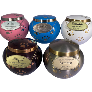 PREMIUM 5: INDIVIDUAL CREMATION – SILVER, RAKI, BLUE,PEWTER & PINK METAL PAW PRINT URNS *WHITE IS CURRENTLY OUT OF STOCK IN THE SMALL*
