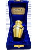 TINY PET Bronze Brass Urn with Screw Lid in Velvet Box