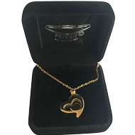 KEEPSAKE STAINLESS STEEL GOLD NECKLACE DOUBLE HEART 2GN