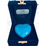 KEEPSAKE BLUE HEART IN VELVET BOX