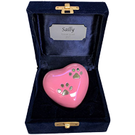KEEPSAKE PINK HEART WITH 2 PAW PRINTS IN A VELVET BOX