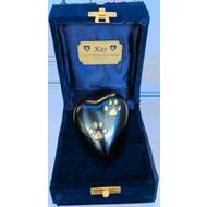 KEEPSAKE RAKI HEART WITH 2 PAW PRINTS IN A VELVET BOX