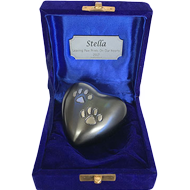 KEEPSAKE SLATE HEART WITH 2 PAW PRINTS IN A VELVET BOX