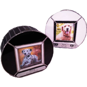 PREMIUM 15: HANDMADE STAINED GLASS CIRCULAR PHOTO URN OR DOG KENNEL