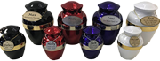 """PREMIUM 6: INDIVIDUAL CREMATION – """"BRASS"""" BLACK, RED, PURPLE OR WHITE URNS WITH BANDS."""