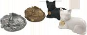 PREMIUM 7: INDIVIDUAL CREMATION – SILVER OR ANTIQUE GOLD METAL DOG/ BLACK OR WHITE METAL CAT