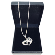 SOLID 925 STERLING SILVER ASH HORSE LOVE HEART LOCKET SS406