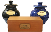 Gold Memorial Individual Cremation: Rustic Black Or Misty Blue Ceramic Urn Or A Solid Oak Box