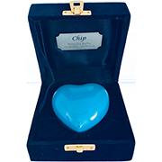TINY PET BLUE HEART IN VELVET BOX