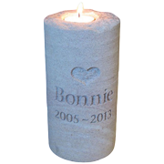 """TINY PET SANDSTONE CANDLE """" HOLDS ASHES"""""""