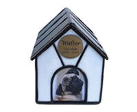PREMIUM 15B: INDIVIDUAL CREMATION – HANDMADE STAINED GLASS DOG KENNEL